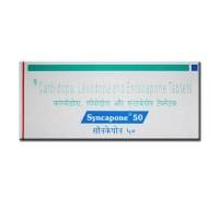 A box of generic Levodopa (50mg) + Carbidopa (12.5mg) + Entacapone (200mg) Tablet