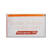 A box of generic Levodopa (150mg) + Carbidopa (37.5mg) + Entacapone (200mg) Tablet