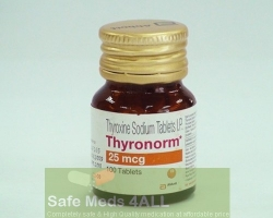A bottle of generic Synthroid 25mcg Tablets - levothyroxine sodium