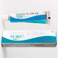 Tube over the box of generic tazarotene 0.05 % Gel - 15gm Each Tube