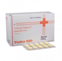 A box and a strip of tinidazole 500mg tablets
