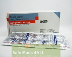 Box pack and a strip of generic Toprol XL 100mg Tablets - Metoprolol Succinate