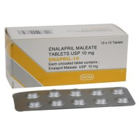 A box and a strip of generic Enalapril 10mg tablets