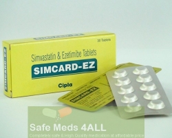 Box and two blisters of generic Ezetimibe and Simvastatin 10mg/10mg tablets