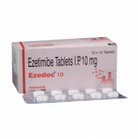 Box and blister strip of generic Ezetimibe 10mg tablets
