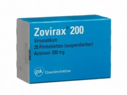 A box of name brand zovirax 200mg tablets