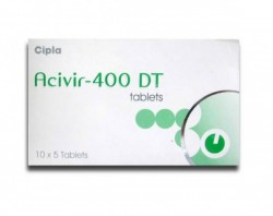 A box of acivir 400 DT tablets