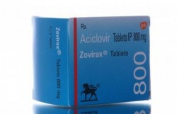 A box of Zovirax 800mg tablets