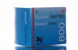 A box of Zovirax 800mg tablets