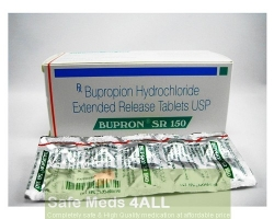A box and a strip pack of generic Bupropion Hydrochloride Extended-Release 150mg tablet